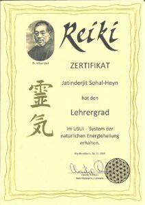 Reiki Master Certificate-001